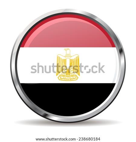 button Flag of egypt - stock vector