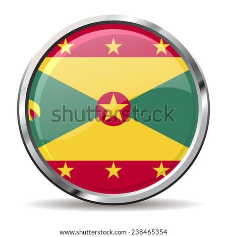 button Flag of Grenada - stock vector