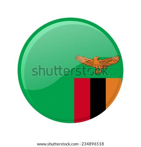 button Flag of Zambia - stock vector