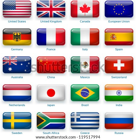 button flags: most popular countries. 3 layers: -  shadows -  flat flag (you can use it separately) -  glossy (with transparencies). Accurate colors. Contain EPS with transparencies - stock vector