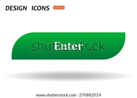 button for a site. Enter, icon. vector design - stock vector
