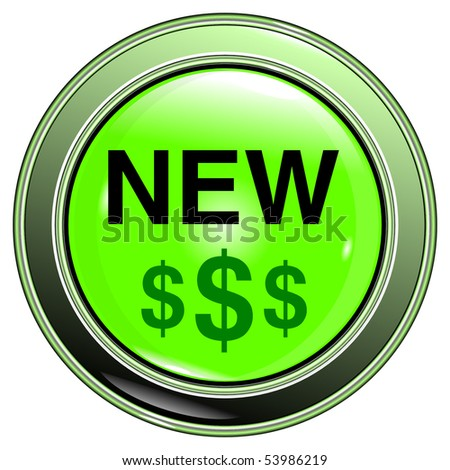 """button green """"new on dollar"""" isolated on the white background vector eps10 - stock vector"""