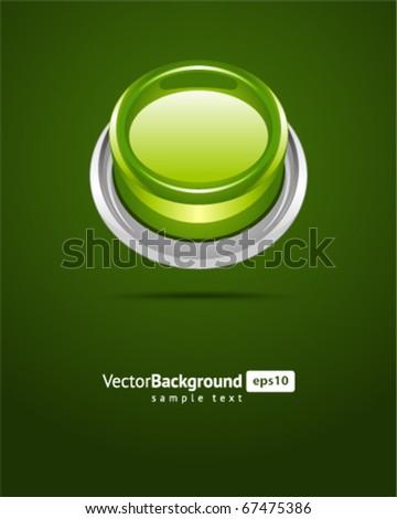 Button green vector background - stock vector