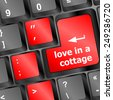 button keypad keyboard key with love is a cottage words - stock
