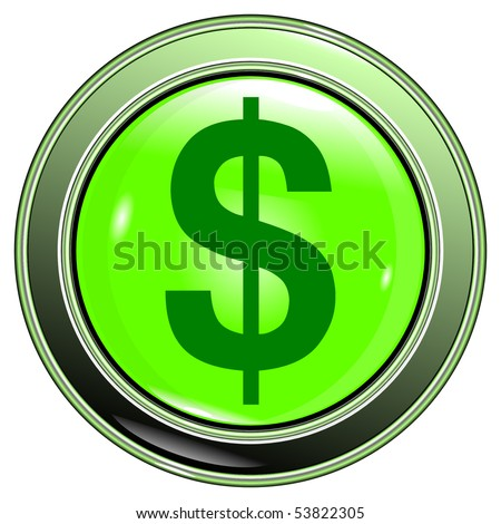 """button light green with """"sign dollar"""" isolated on the white background vector eps10 - stock vector"""