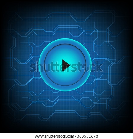 Button play media connect abstract technology background - stock vector