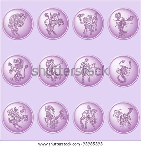 button set with signs of zodiac on pink background - stock vector