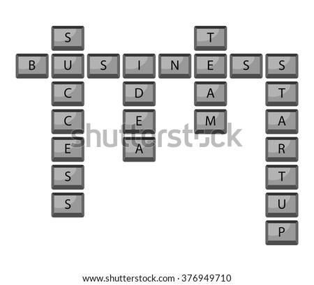 Button stratup idea success team business keyboard. Startup idea, business team, start plan and strategy innovation, teamwork successful. Vector abstract flat design illustration - stock vector