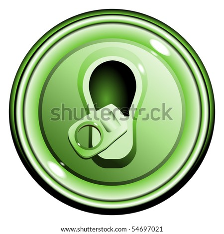 button top opened green can of beer, on the white background isolated vector eps10 - stock vector