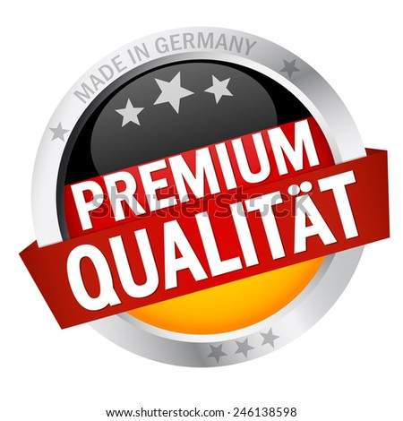 Button with Banner and text premium quality (in german) - stock vector
