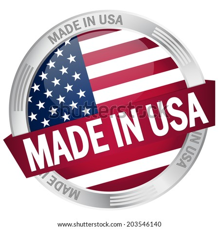 Button with banner Made in USA - stock vector