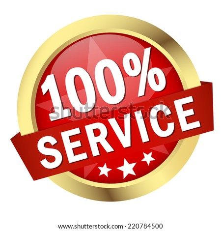 "Button with banner "" 100% SERVICE "" - stock vector"