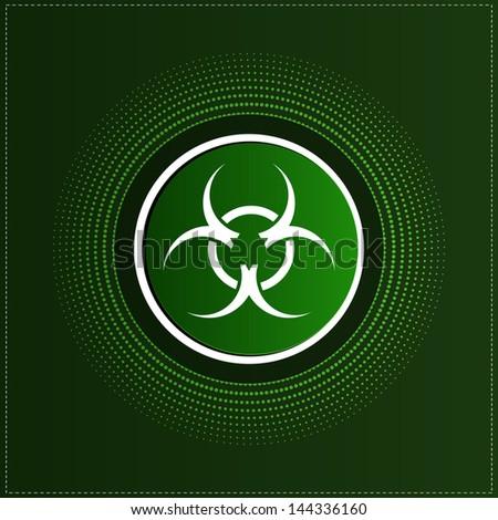 Button with biohazard symbol - stock vector