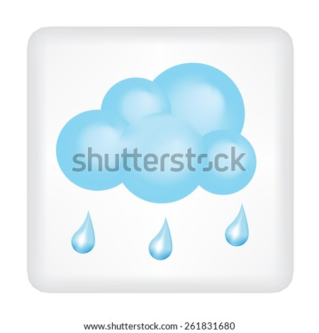 Button with blue cloud and three drops of  rain vector
