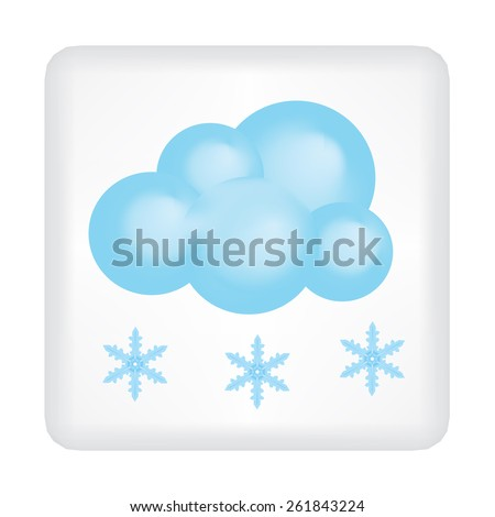 Button with blue cloud and three snowflakes vector