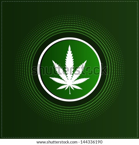 Button with cannabis leaf - stock vector