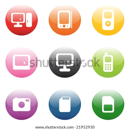 Button with computer, mobile and other icons - stock vector