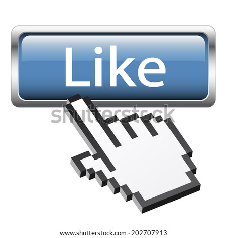 "Button with 3D pixel graphic hand "" Like """