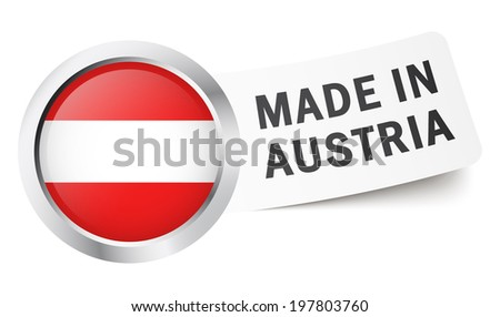 """Button with flag """" MADE IN AUSTRIA """" - stock vector"""