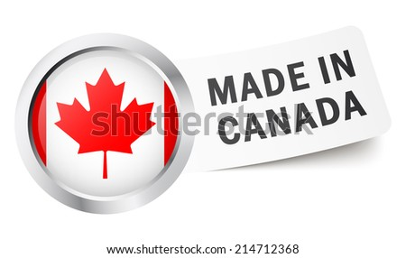 """Button with flag """" MADE IN CANADA """" - stock vector"""