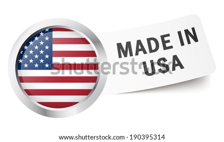 """Button with flag """" MADE IN USA """" - stock vector"""