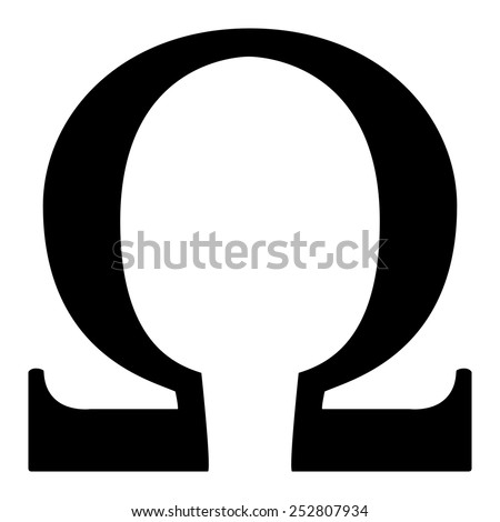 Button with icon - Omega - stock vector
