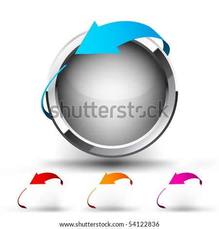 Button with round arrow. Set - stock vector