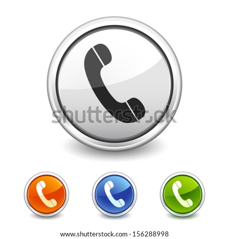 button with telephone icon in four colors - stock vector