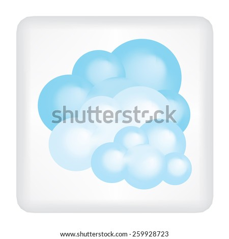 Button with three clouds vector