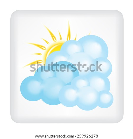 Button with yellow sun and three clouds vector