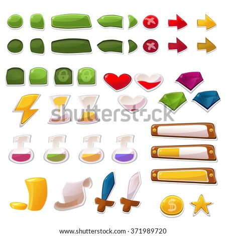 Buttons and Icons For Mobile Game or App Vector Set. Cartoon and Colorful, Fully Editable and Scalable Graphic - stock vector