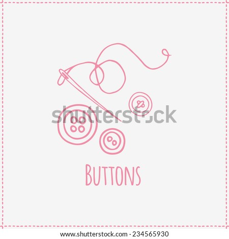 Buttons and needle. Vector illustration on sewing theme. Hand-drawn object isolated on background. Contour silhouette, pictogram - stock vector
