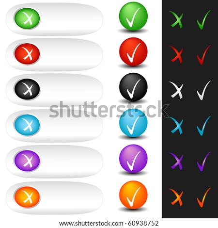 Buttons check sign and tick sign set. Vector isolated - stock vector