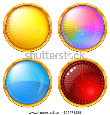 Buttons collection, round glossy blank web elements of various colors, eps10, contains transparencies. Vector - stock vector