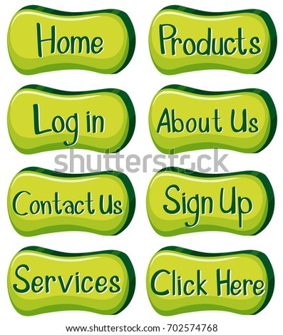 Buttons design with words in green illustration