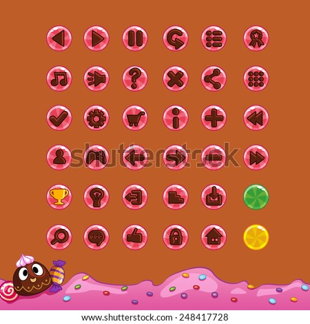 Buttons for game interfaces (theme candy)  - stock vector