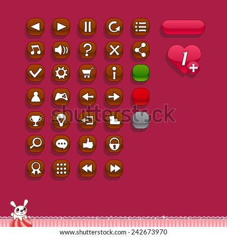 Buttons for game interfaces (theme Valentine's day)  - stock vector