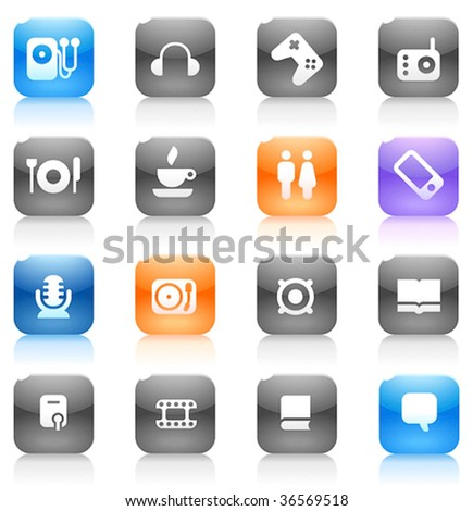 Buttons for music and leisure. Icons for websites and interface elements. Vector illustration. - stock vector