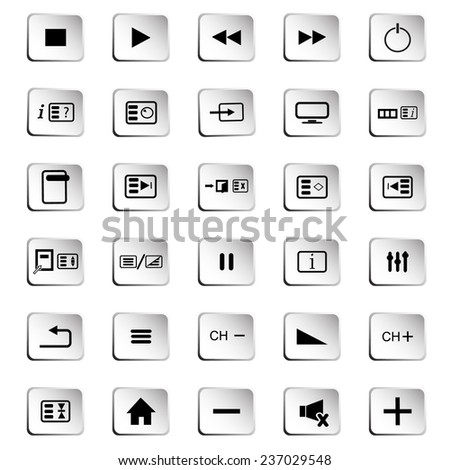 Buttons from a remote control and other standard buttons - stock vector