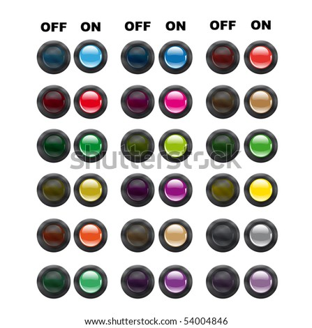 Buttons in power status - stock vector