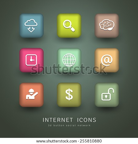 Buttons Internet Icons network collections design, vector illustration - stock vector