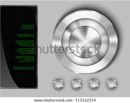 buttons on a metall background with display - stock vector