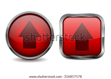Buttons. Red shiny glass sphere and square button with metal frame. Vector isolated on white background.