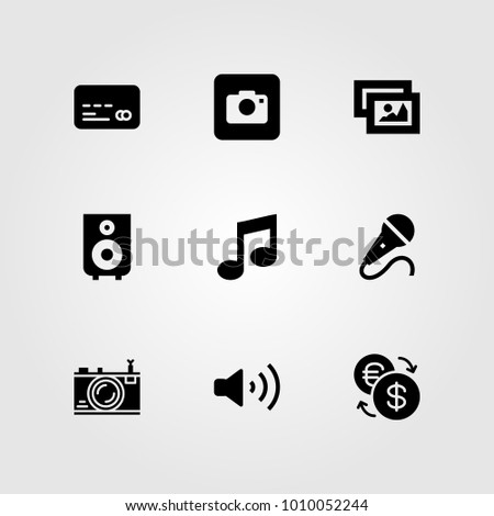 Buttons vector icon set. credit card, photo camera, mic and musical note