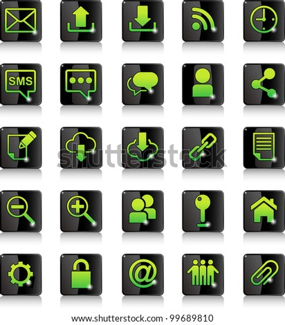 buttons with a set of network icons - stock vector