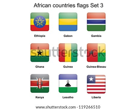buttons with African countries flags set 3 - stock vector
