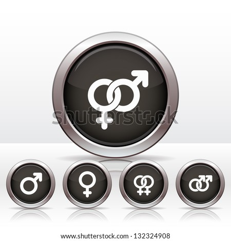 Buttons with combinations of male and  female symbols. Vector illustrations. - stock vector