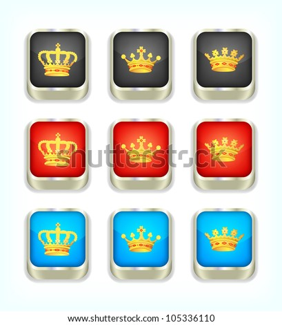 Buttons with crowns, part 1, vector, 10eps. - stock vector