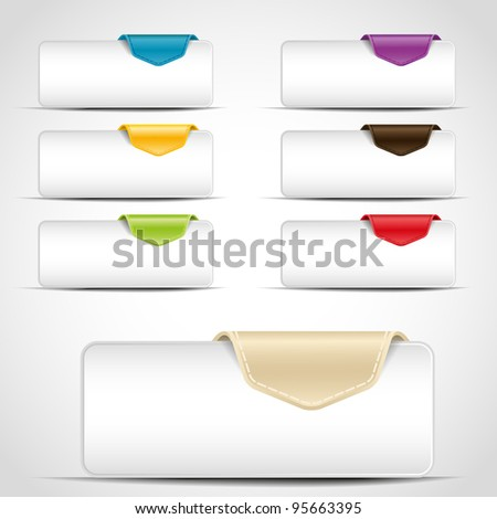 buttons with different color tab - stock vector