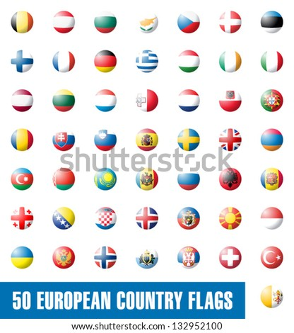 Buttons with european country flags set 1